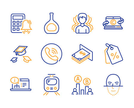 Online documentation, Calculator alarm and Ab testing icons simple set. Throw hats, Cognac bottle and Group signs. Copywriting notebook, Call center and Train symbols. Line online documentation icon