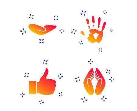 Hand icons. Like thumb up symbol. Insurance protection sign. Human helping donation hand. Prayer hands. Random dynamic shapes. Gradient hand icon. Vector