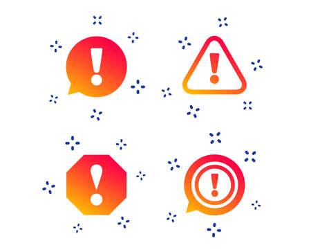 Achtung-Symbole. Ausrufezeichen Sprechblase. Warnzeichen. Zufällige dynamische Formen. Aufmerksamkeitssymbol mit Farbverlauf. Vektor Vektorgrafik