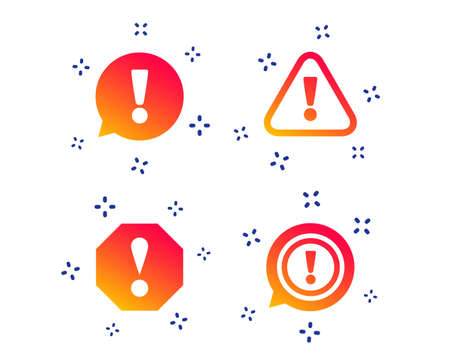 Attention icons. Exclamation speech bubble symbols. Caution signs. Random dynamic shapes. Gradient attention icon. Vector