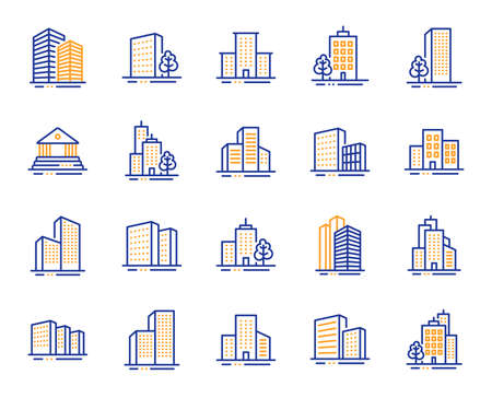 Buildings line icons. Bank, Hotel, Courthouse. City, Real estate, Architecture buildings icons. Hospital, town house, museum. Urban architecture, city skyscraper, downtown. Vector Illustration