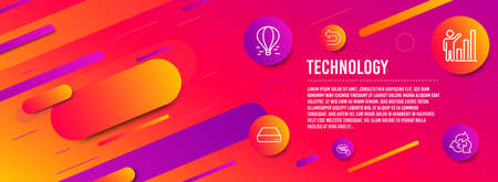Header banner. Graph chart, Undo and Air balloon icons simple set. Mini pc, Quick tips and Recycle signs. Growth report, Left turn. Technology set. Line graph chart icon. Gradient elements. Vector Banque d'images - 125041609