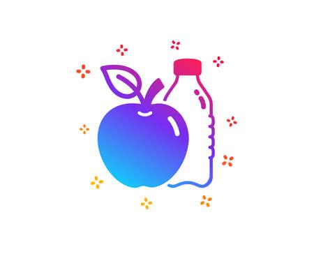 Apple icon. Fruit, water bottle sign. Natural food symbol. Dynamic shapes. Gradient design apple icon. Classic style. Vector Ilustração