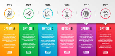 Credit card, Spanner and Technical documentation icons simple set. Report document, Metro subway and Search signs. Bank payment, Repair service. Business set. Infographic template. 6 steps timeline Illustration