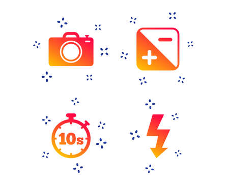Photo camera icon. Flash light and exposure symbols. Stopwatch timer 10 seconds sign. Random dynamic shapes. Gradient photo icon. Vector Illustration