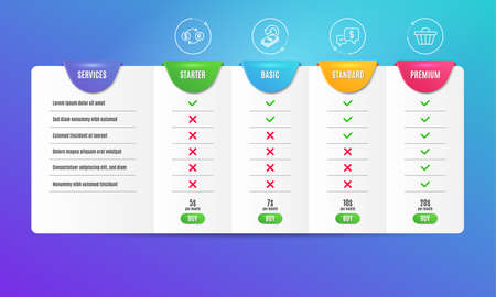 Cashback, Payment received and Currency exchange icons simple set. Comparison table. Shop cart sign. Financial transfer, Money, Banking finance. Web buying. Finance set. Pricing plan. Vector