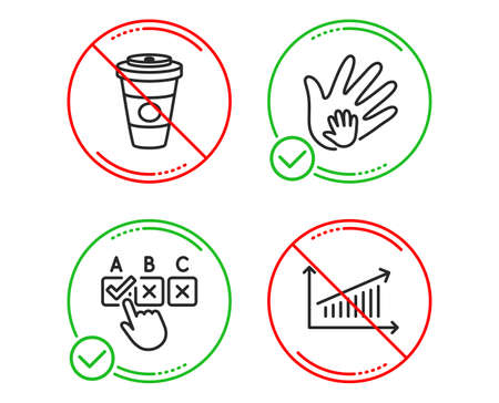 Do or Stop. Social responsibility, Correct checkbox and Takeaway coffee icons simple set. Chart sign. Hand, Answer, Hot latte drink. Presentation chart. Line social responsibility do icon. Vector