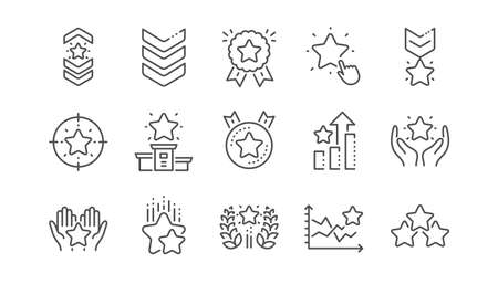 Ranking line icons. First place, star rating and winner medal. Shoulder strap, army achievement and star ranking icons. Linear set. Vector Illustration