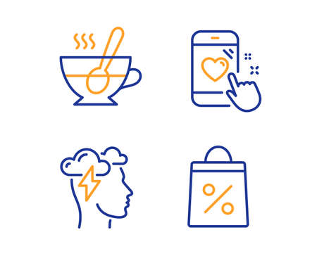 Mindfulness stress, Tea cup and Heart rating icons simple set. Shopping bag sign. Cloud storm, Coffee with spoon, Phone feedback. Supermarket discounts. Linear mindfulness stress icon. Vector Illustration
