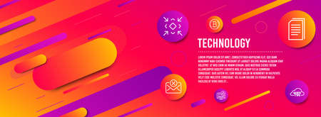 Header banner. Like video, Reject mail and Copy files icons simple set. Bitcoin, Minimize and Quick tips signs. Thumbs up, Delete letter. Technology set. Line like video icon. Gradient elements Banque d'images - 125042826