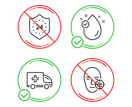 Do or Stop. Vitamin e, 24 hours and Ambulance emergency icons simple set. Problem skin sign. Oil drop, Protection, Medical transport. Facial care. Medical set. Line vitamin e do icon. Vector Stock Vector - 125042851