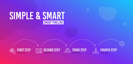 Infographic timeline. Cogwheel settings, Calendar graph and Receive file icons simple set. Management sign. Engineering tool, Annual report, Hold document. Agent. Science set. 4 steps layout. Vector Illustration