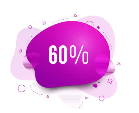 Fluid badge. 60% off Sale. Discount offer price sign. Special offer symbol. Abstract shape. Color gradient sale banner. Flyer liquid design. Vector