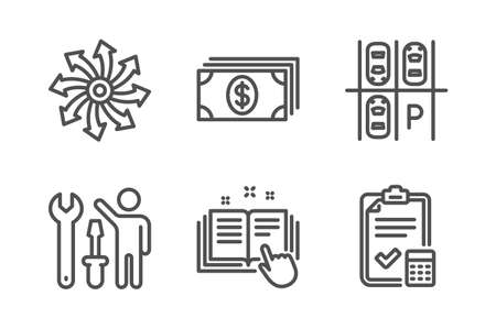 Parking place, Technical documentation and Repairman icons simple set. Banking, Versatile and Accounting checklist signs. Transport, Manual. Business set. Line parking place icon. Editable stroke Vector Illustration