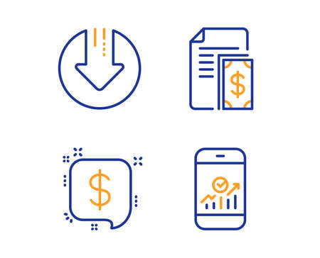Payment, Payment message and Download arrow icons simple set. Smartphone statistics sign. Cash money, Finance, Crisis. Mobile business. Finance set. Linear payment icon. Colorful design set. Vector