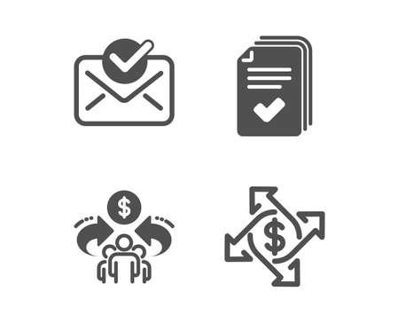 Set di icone di posta approvata, economia della condivisione e volantino. Segno di scambio di pagamento. Documento confermato, Condividi, Esempio di documenti. Trasferimento di denaro. Icona della posta approvata dal design classico. Design piatto. Vettore