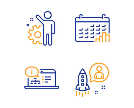 Employee, Calendar graph and Online documentation icons simple set. Startup sign. Cogwheel, Annual report, Web engineering. Developer. Education set. Linear employee icon. Colorful design set. Vector