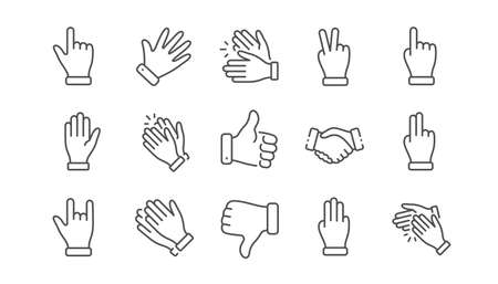 Hand gestures line icons. Handshake, Clapping hands, Victory. Horns, Thumb up finger, drag and drop icons. Donation hand gestures, click, helping hand. Linear set. Vector