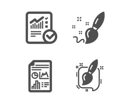 Set of Checked calculation, Paint brush and Report document icons. Painting brush sign. Statistical data, Creativity, Growth chart. Graphic art.  Classic design checked calculation icon. Flat design