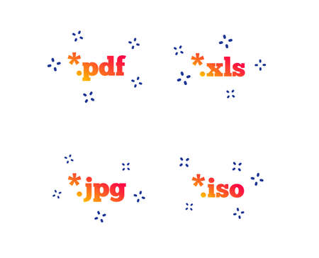 Document icons. File extensions symbols. PDF, XLS, JPG and ISO virtual drive signs. Random dynamic shapes. Gradient document icon. Vector Çizim
