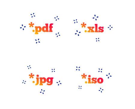 Documentpictogrammen. Bestandsextensies symbolen. PDF-, XLS-, JPG- en ISO-tekens voor virtuele stations. Willekeurige dynamische vormen. Verloop documentpictogram. Vector