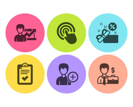 Click, Add person and Checklist icons simple set. Success business, Sale and Businessman case signs. Cursor pointer, Edit user data. Business set. Flat click icon. Circle button. Vector