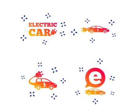 Electric car icons. Sedan and Hatchback transport symbols. Eco fuel vehicles signs. Random dynamic shapes. Gradient car icon. Vector Çizim
