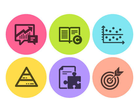 Accounting, Copyright and Pyramid chart icons simple set. Strategy, Dot plot and Target signs. Supply and demand, Copywriting book. Education set. Flat accounting icon. Circle button. Vector