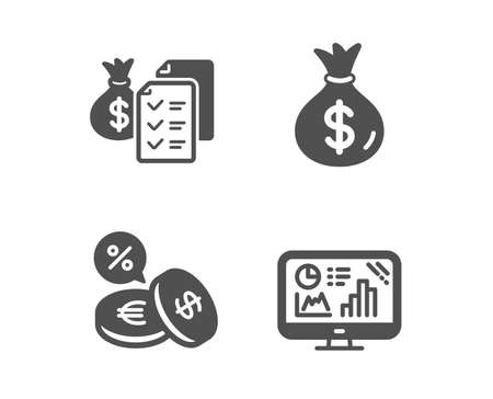 Set of Accounting wealth, Currency exchange and Money bag icons. Analytics graph sign. Audit report, Euro and usd, Usd currency. Growth report.  Classic design accounting wealth icon. Flat design Banque d'images - 125043459