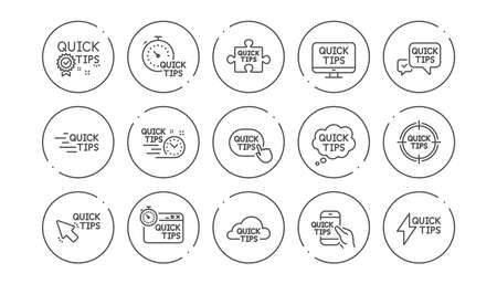 Quick tips line icons. Helpful tricks, Solution and Quickstart guide. Tutorial linear icon set. Line buttons with icon. Editable stroke. Vector