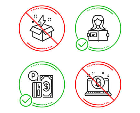Do or Stop. Woman read, Parking payment and Creative idea icons simple set. Bitcoin sign. Girl studying, Paid garage, Lightning. Cryptocurrency laptop. Business set. Line woman read do icon. Vector