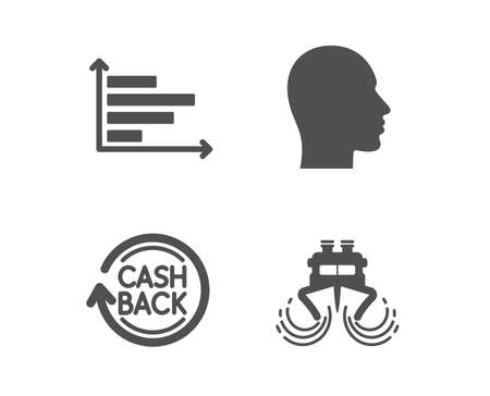 Set of Head, Horizontal chart and Cashback icons. Ship sign. Human profile, Presentation graph, Refund commission. Shipping watercraft.  Classic design head icon. Flat design. Vector Vettoriali