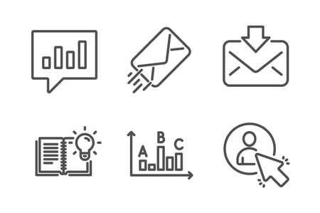 E-mail, Incoming mail and Survey results icons simple set. Product knowledge, Analytical chat and User signs. Mail delivery, Download message. Education set. Line e-mail icon. Editable stroke. Vector