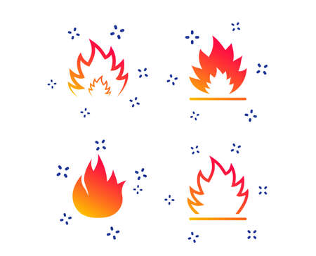 Fire flame icons. Heat symbols. Inflammable signs. Random dynamic shapes. Gradient fire icon. Vector