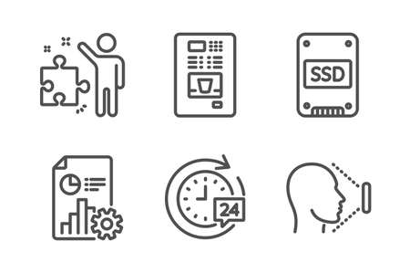 Coffee vending, Ssd and Strategy icons simple set. Report, 24h delivery and Face id signs. Coffee vending machine, Solid-state drive. Technology set. Line coffee vending icon. Editable stroke. Vector