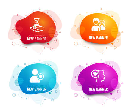 Liquid badges. Set of Security, Time hourglass and Couple icons. Romantic talk sign. Person protection, Sand watch, Male and female. Love chat.  Gradient security icon. Flyer fluid design. Vector
