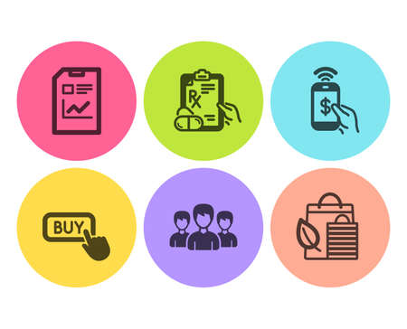 Phone payment, Buy button and Report document icons simple set. Group, Prescription drugs and Bio shopping signs. Mobile pay, Online shopping. Business set. Flat phone payment icon. Circle button Çizim