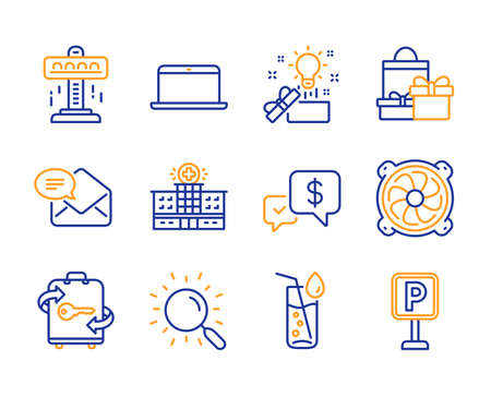 Creative idea, Payment received and Computer fan icons simple set. Laptop, Luggage and Hospital building signs. Attraction, Shopping and Water glass symbols. Search, New mail and Parking. Vector
