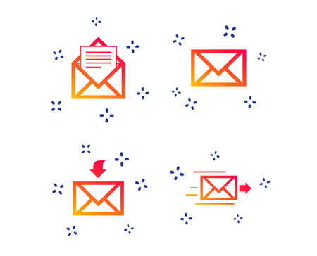 Mail envelope icons. Message document delivery symbol. Post office letter signs. Inbox and outbox message icons. Random dynamic shapes. Gradient message icon. Vector Illustration