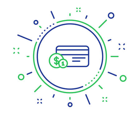 Credit card line icon. Banking Payment card with Coins sign. ATM service symbol. Quality design elements. Technology payment method button. Editable stroke. Vector