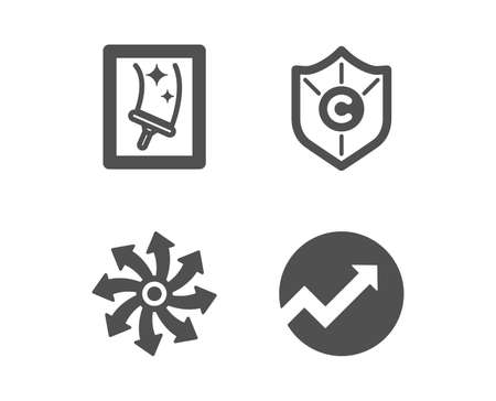Set of Window cleaning, Copyright protection and Versatile icons. Audit sign. Housekeeping service, Shield, Multifunction. Arrow graph.  Classic design window cleaning icon. Flat design. Vector Ilustracja