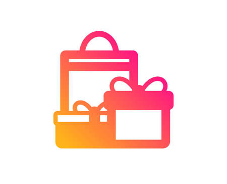 Gift boxes with bag icon. Present or Sale sign. Birthday Shopping symbol. Package in Gift Wrap. Classic flat style. Gradient shopping icon. Vector
