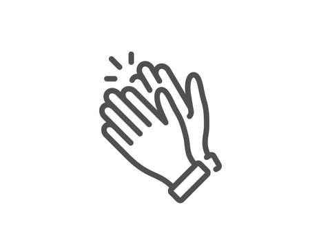 Icona della linea di applausi delle mani. Segno di applauso. Simbolo del gesto di vittoria. Elemento di design di qualità. Icona delle mani d'applauso di stile lineare. Tratto modificabile. Vettore