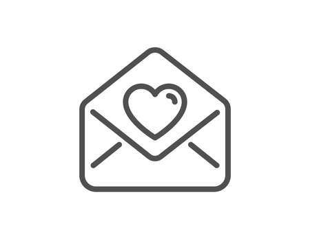 Love letter line icon. Heart mail sign. Valentine day symbol. Quality design element. Linear style love letter icon. Editable stroke. Vector