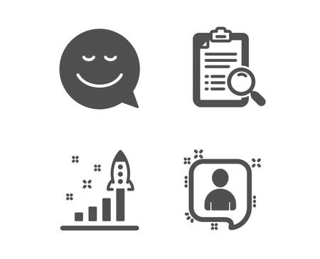 Set of Search analysis, Development plan and Smile icons. Developers chat sign. Find survey, Strategy, Chat emotion. Manager talk.  Classic design search analysis icon. Flat design. Vector