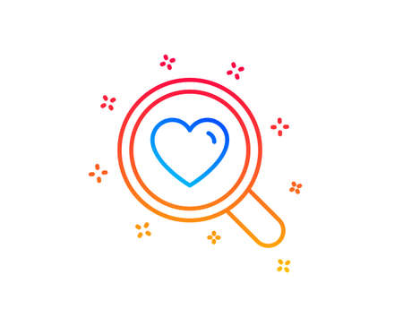 Love dating line icon. Search relationships sign. Valentines day symbol. Gradient design elements. Linear search love icon. Random shapes. Vector