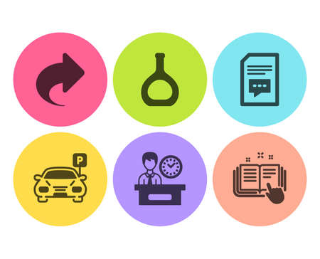 Comments, Parking and Presentation time icons simple set. Cognac bottle, Share and Technical documentation signs. Document with speech bubble, Car park. Business set. Flat comments icon. Circle button