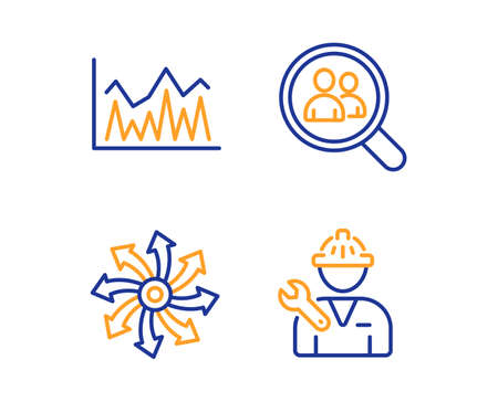 Search employees, Investment and Versatile icons simple set. Repairman sign. Staff analysis, Economic statistics, Multifunction. Repair service. Business set. Linear search employees icon. Vector Illustration