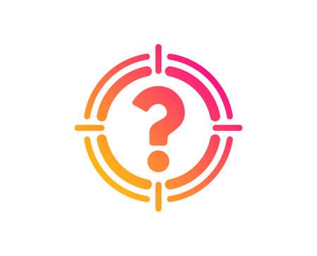 Cibler avec l'icône de point d'interrogation. Symbole de but. Signe d'aide ou de FAQ. Style plat classique. Icône de chasseur de têtes dégradé. Vecteur