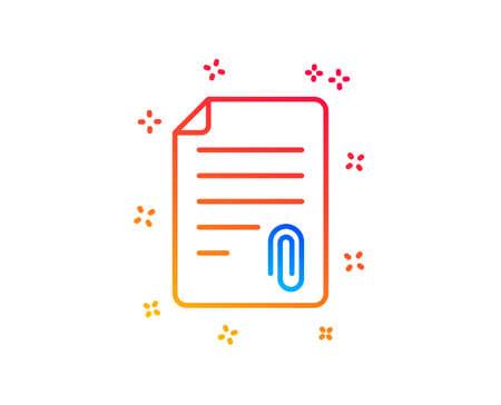 Icône de ligne de pièce jointe CV. Symbole de fichier de document. Éléments de conception de dégradé. Icône de pièce jointe linéaire. Formes aléatoires. Vecteur